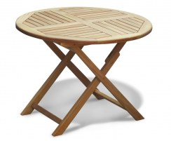 Suffolk Teak Folding Round Garden Table – 1m