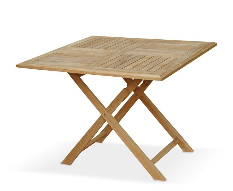Suffolk square teak folding table 1m for Table exterieur 1m