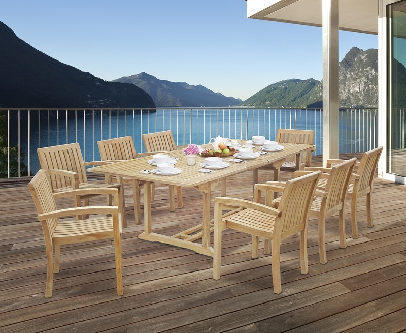 Dorchester Extending Table amp Monaco Stacking Chairs Teak
