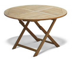 Suffolk Teak Round Folding Garden Dining Table – 1.2m