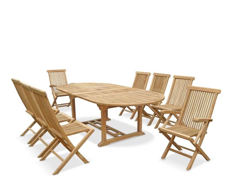 Brompton Extending Table & 8 Ashdown Folding Chairs, Teak