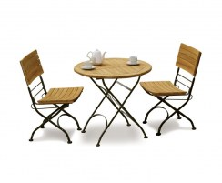 Teak & Metal Bistro Round 0.8m Table & 2 Side Chairs