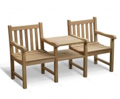 Windsor Vista Teak Companion Seat, Jack and Jill Bench