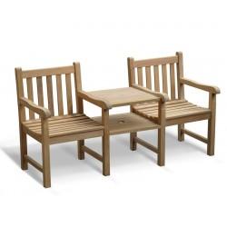 Windsor Vista Teak Companion Seat, Jack and Jill Bench