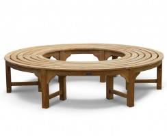 Circular Tree Bench for seating around a tree, Teak Backless Bench
