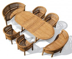 Wimbledon Teak Garden Dining Set – Wide Table