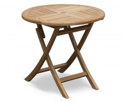 Suffolk Teak Folding Round Garden Table - 80cm