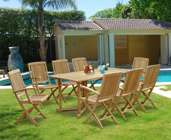 Shelley Outdoor Drop Leaf Table and 8 Rimini Armchairs