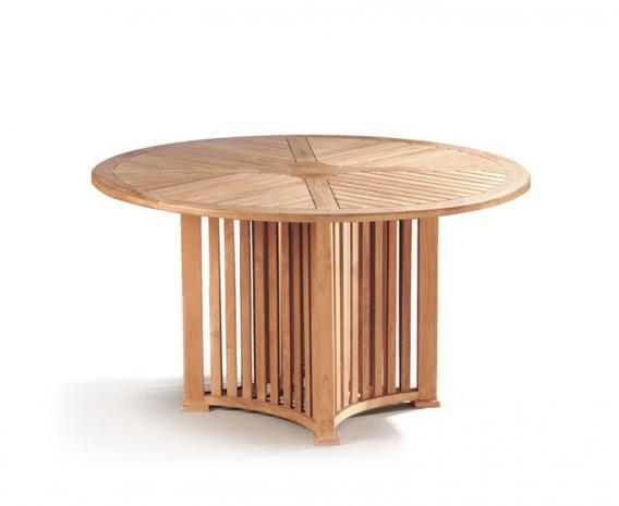 Aero teak round outdoor patio table modern garden dining for Round teak outdoor table