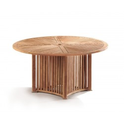 Aero Teak Contemporary Round Garden Table – 1.5m