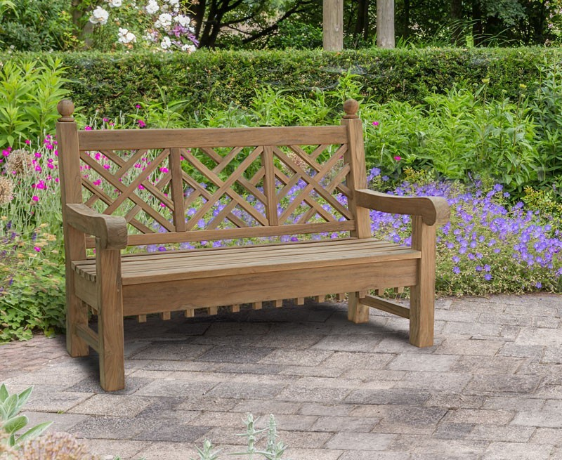chiswick 3 seater decorative chinoiserie teak outdoor park bench. Black Bedroom Furniture Sets. Home Design Ideas
