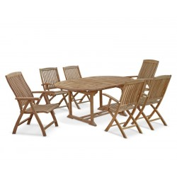 Brompton Extending 1.2 - 1.8m Table, 2 Bali Recliners & 4 Armchairs