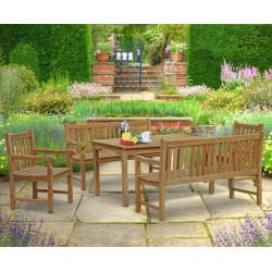 Sandringham Rectangular 1.5m Table & Windsor Benches & Chairs Set