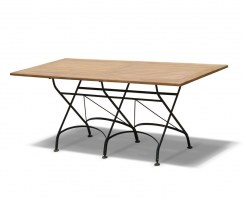 Folding Rectangular Bistro Table, Black – 1.8m