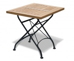 Teak Folding Square Bistro Table, Raven Black – 0.6m
