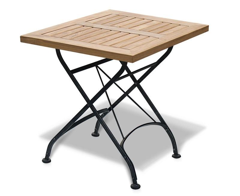 Teak Folding Square Bistro Table, Black – 0.6m
