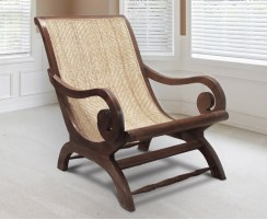Capri Reclaimed Teak & Rattan Plantation Chair, Colonial Lazy Chair