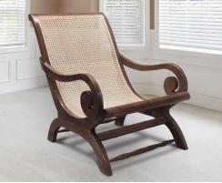 Capri Reclaimed Teak & Rattan Plantation Chair, Colonial Lazy Chair