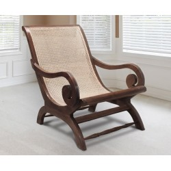 Capri Rattan & Teak Plantation Chair, Plantation Lazy Chair
