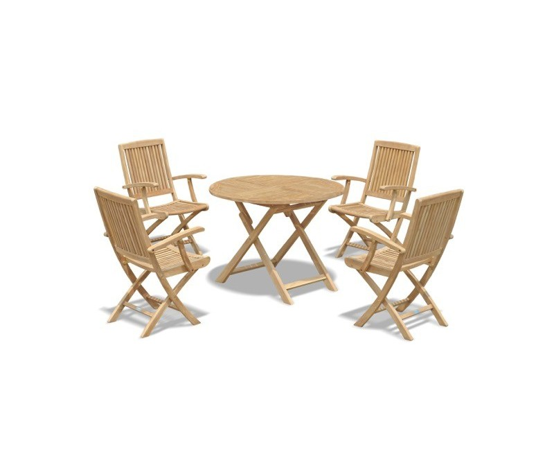 Suffolk Round folding Garden Table and 4 Armchairs set