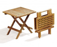Small Square Teak Folding Picnic Table, Chessboard Slats