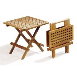 Small Folding Picnic Table, Square, chessboard slats