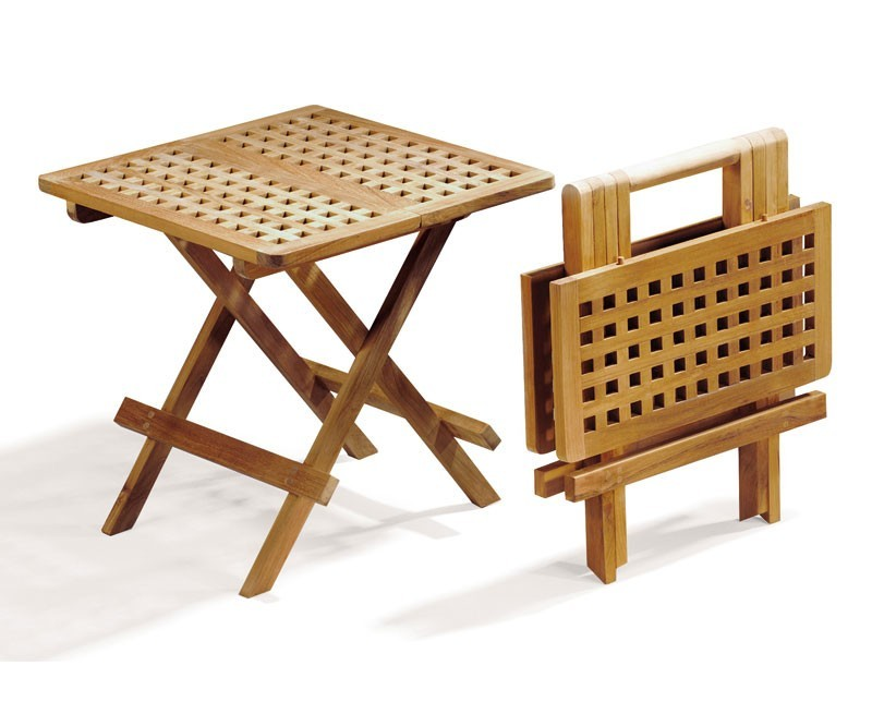Small Folding Picnic Table, Square, chessboard slats