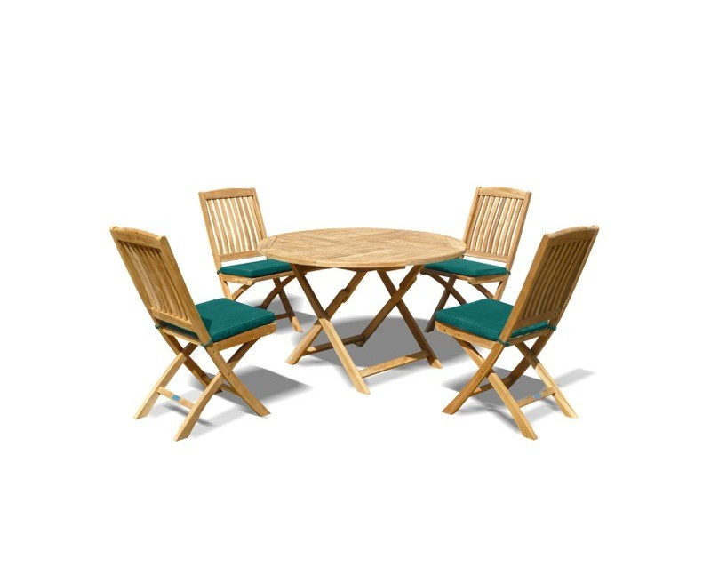 Suffolk Round Folding Garden Table And 4 Dining Chairs Set