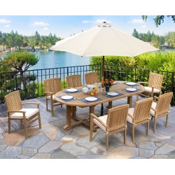Hilgrove Oval 2.6m Table & 8 Bali Stacking Chairs Set