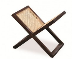 Teak & Natural Rattan Magazine Stand, Antique Magazine Rack