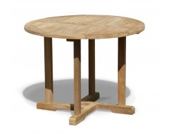 Canfield Teak Round Garden Dining Table – 1m