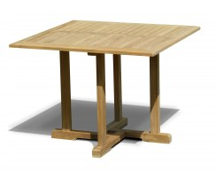 Canfield Teak Fixed Square Outdoor Patio Dining Table – 1m