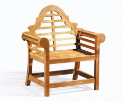 Teak Lutyens Chair, Marlborough Chair, Wooden Garden Armchair