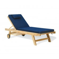 garden wooden lounger with cushion