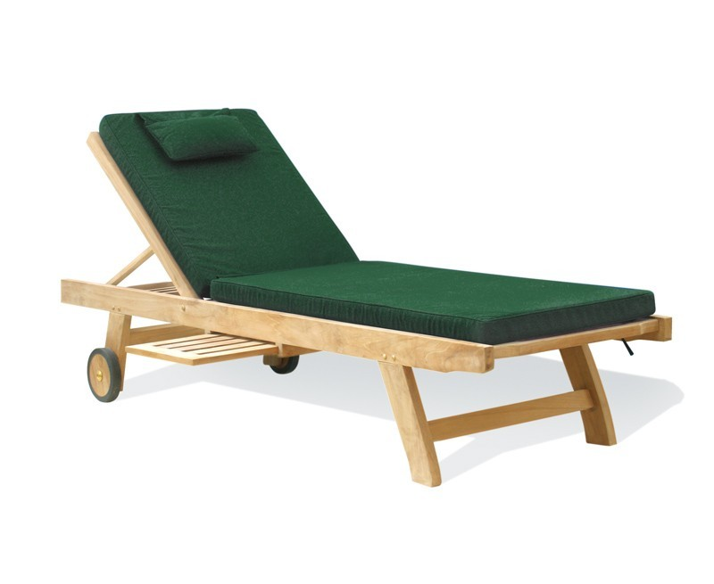 Reclining Sun Lounger with cushion, Teak