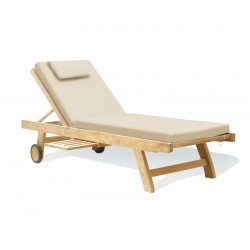 Teak Sun Lounger Fixed Leg with FREE Cushion