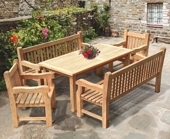 Balmoral Teak Rectangular Table 1.8m, Benches & Chairs