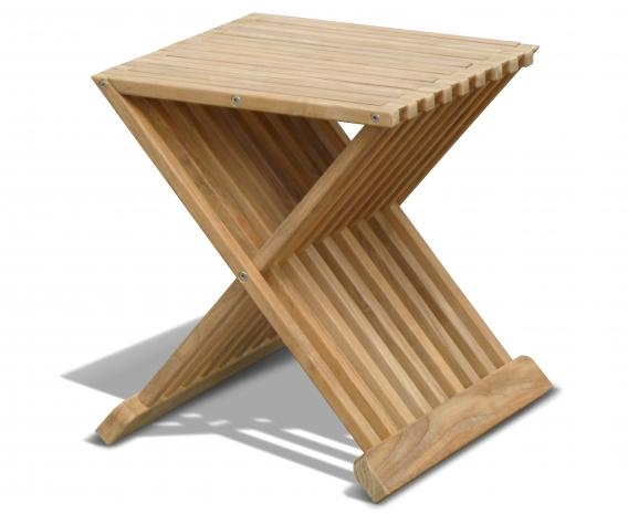 Chelsea Teak Garden Footstool - Side Table