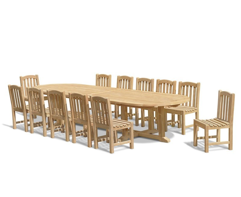 Outdoor Dining Table 12 Seater: 12 Seater Teak Dining Set With Hilgrove Oval 4m Table