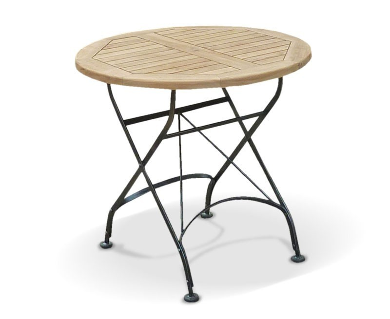 Bistro Round 0.8m Table & 2 Armchairs Teak & Metal Folding