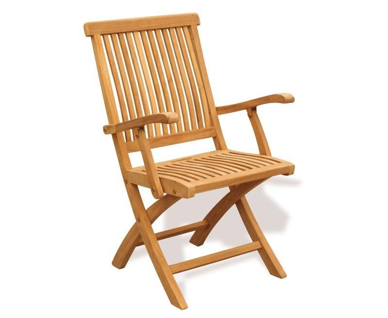 Berrington round gateleg teak dining set 4 folding armchairs - Gateleg table and folding chairs ...