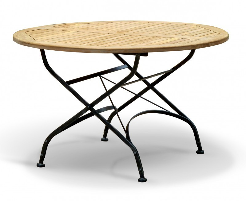 Bistro Round 1.2m Table & 4 Chairs, Teak & Metal Folding ...