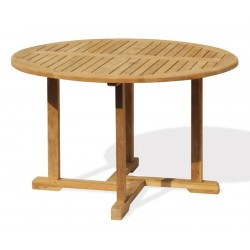 Canfield Round 1.2m Table & 4 Yale Stacking Chairs, Teak Patio Set