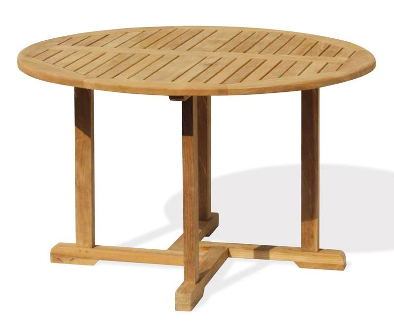 Canfield Round Table 4 Bali Stacking Chairs Teak Patio