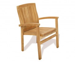 Canfield Round 1.3m Table & 4 Bali Stacking Chairs, Teak Patio Set
