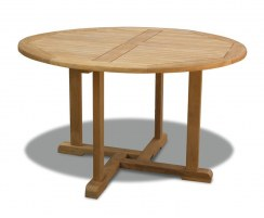 Canfield Round 1.3m Table & 4 Yale Stacking Chairs, Teak Patio Set
