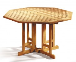 Berrington Octagonal Gateleg Table, Outdoor Drop Leaf Table – 1.2m
