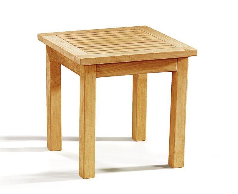 Teak garden occasional end table small square outdoor for Outdoor teak side table