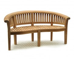 Deluxe Teak Banana Bench, Coffee Table & Armchairs, Furniture Set