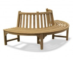 Wooden Half Round Tree Seat, Teak Semi Circle Bench